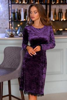 Велюровое платье фиолетового цвета Open Style