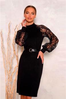 Черное платье с кружевными рукавами Open-Style со скидкой