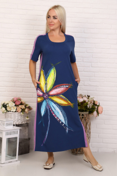 Длинное платье синего цвета Натали