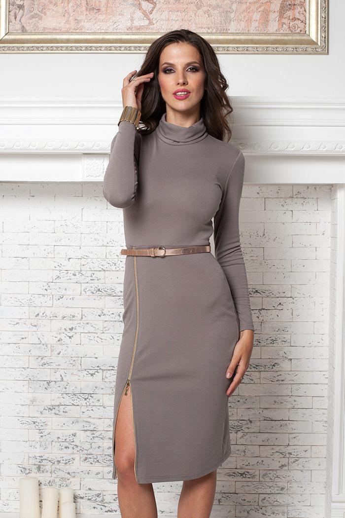 723d8819a0a Трикотажное платье чулок с разрезом на молнии Angela Ricci арт. 7206 ...
