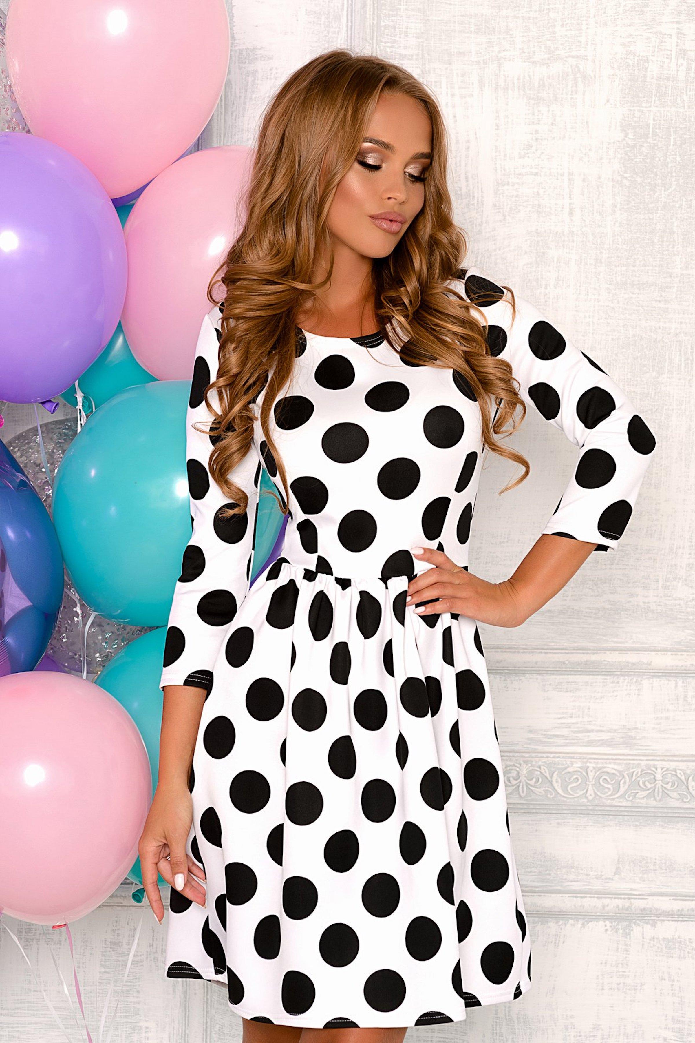 c430cef4693 Белое платье в черный горошек Open-Style арт. 8003 купить в интернет ...